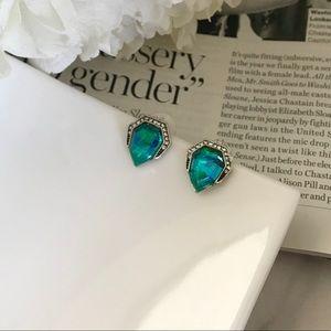 Blue Green Crystal Geometric Pavé Studs Earrings